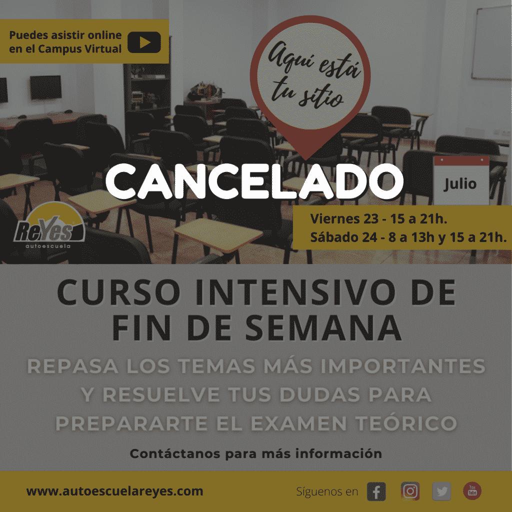 Cancelado el curso intensivo de fin de semana de finales de Julio.