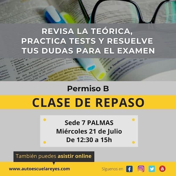 Clase de repaso permiso B en 7 Palmas