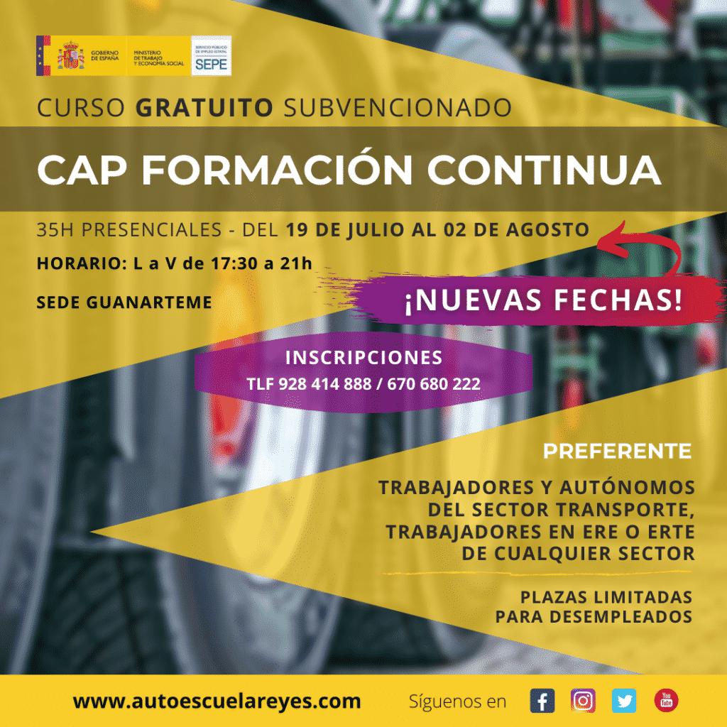 Nuevas fechas curso CAP Formación Continua