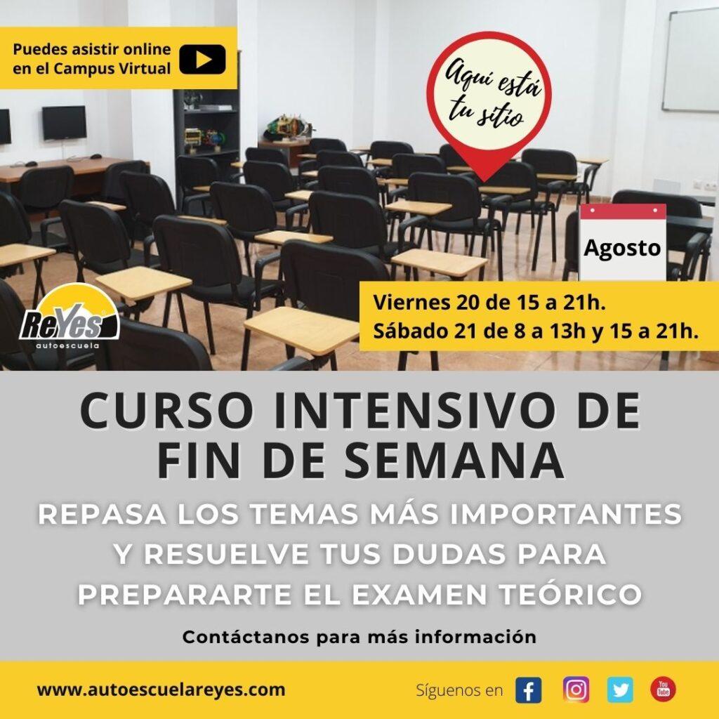 Curso intensivo del permiso b en Autoescuela Reyes en Agosto