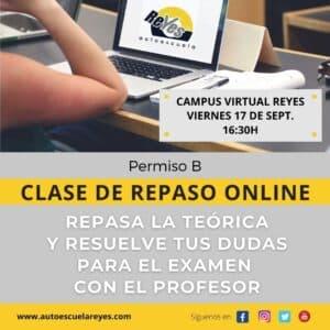 Clase de repaso online del Permiso B en el Campus Virtual de la Autoescuela Reyes