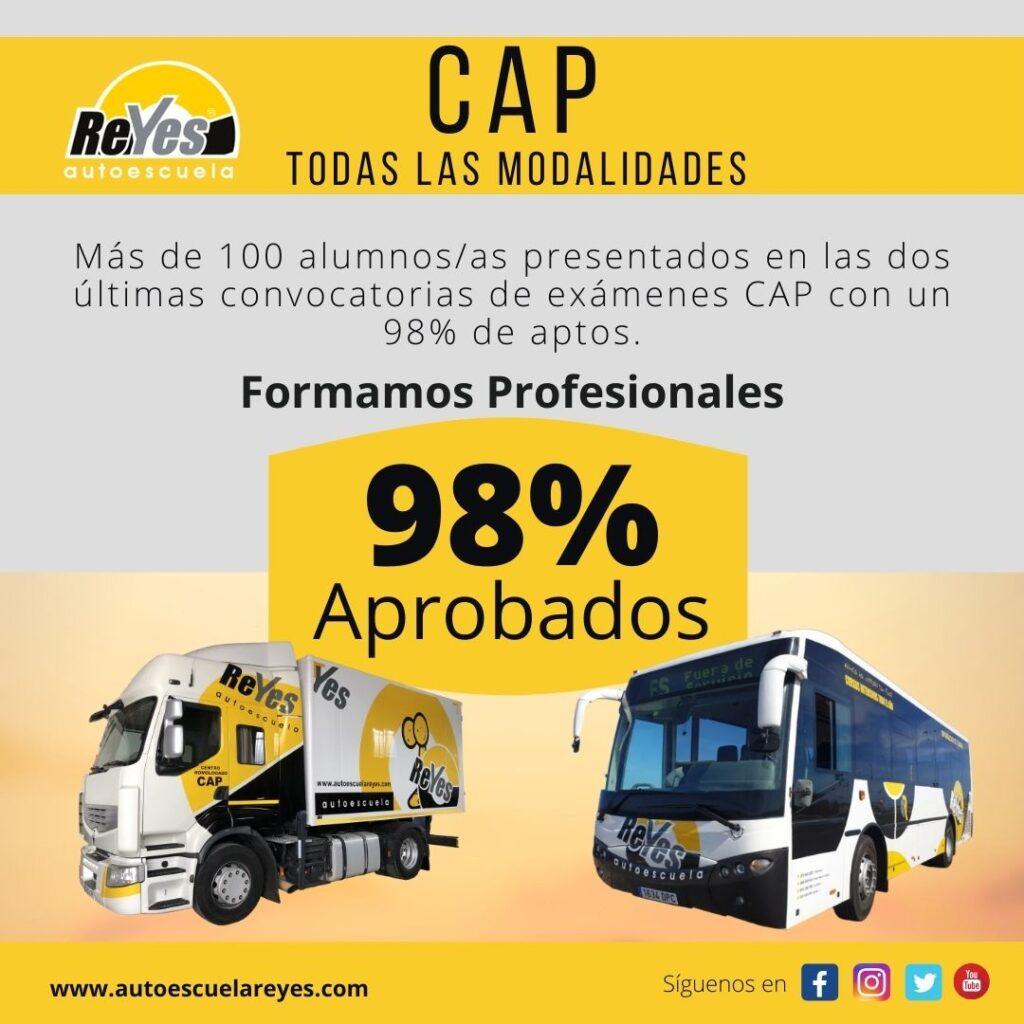 Autoescuela Reyes consigue un 98% de aprobados en las dos últimas convocatorias de exámenes CAP
